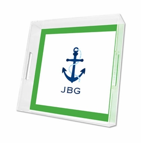 icon anchor with border lucite tray - square