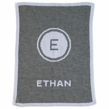 initial stamp initial and name stroller blanket