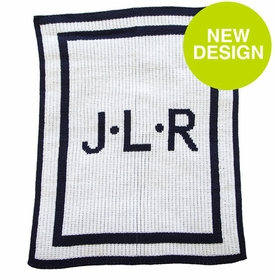 initials and double border stroller blanket