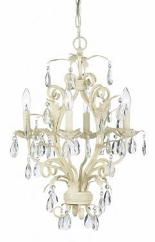 ivory 4 arm mackenzie chandelier w/sconce shades