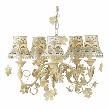 ivory 5 arm leaf & flower chandelier w/embroidered shades