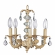 ivory 5 arm stacked ball chandelier