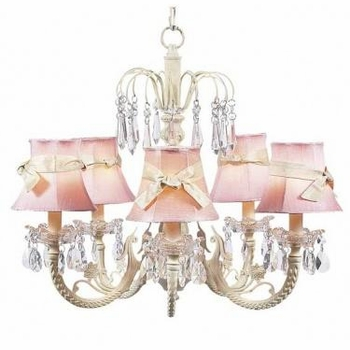 ivory 5 arm waterfall chandelier