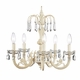 ivory 5-arm waterfall chandelier w/embroidered shade