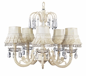ivory 5 arm waterfall chandelier w/ivory skirt dangling shades