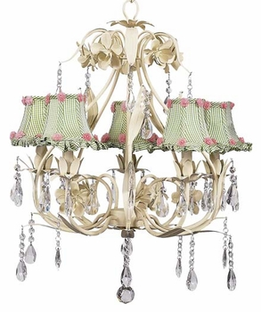 ivory ballroom chandelier with green check ruffled shades