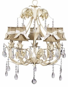 ivory ballroom chandelier with taupe check shades