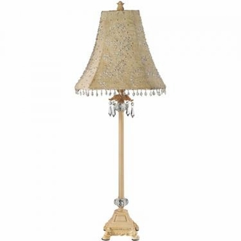 ivory crystal dangle lamp - ivory starburst shade