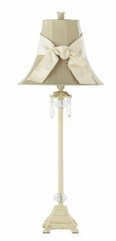 ivory crystal dangle lamp-taupe shade