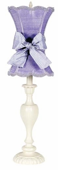 ivory curvy candle lamp with lavender shade
