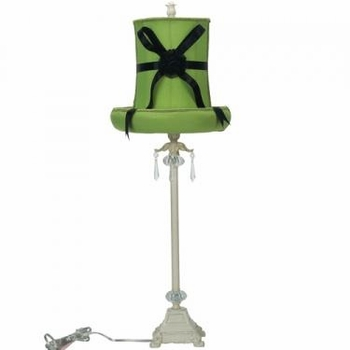 ivory dangle lamp - green hat shade