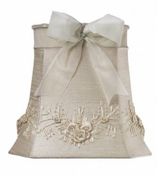 ivory dangle lamp - ivory floral bouquet shade