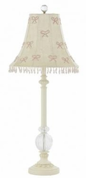 ivory glass ball lamp -  pearl bow shade