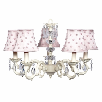 ivory glass turret chandelier with pink pearl dot shades