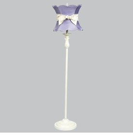 ivory ridged lamp with lavender scalloped shade