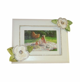 ivory roses with bling picture frame