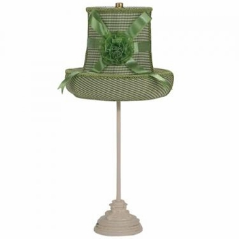 ivory scroll lamp - green check medium hat shade