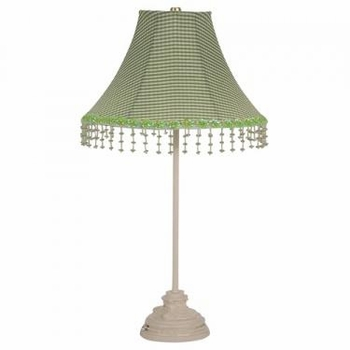 ivory scroll lamp - green check pearl flower shade