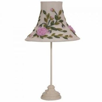 ivory scroll medium lamp - rose net shade