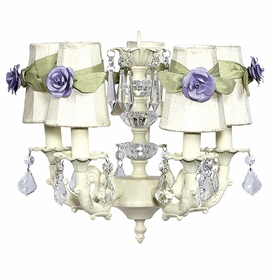 ivory stacked glass ball chandelier - ivory/lavender rose shades