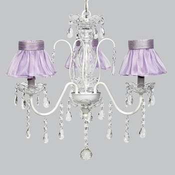 jewel chandelier - lavender sheer shades