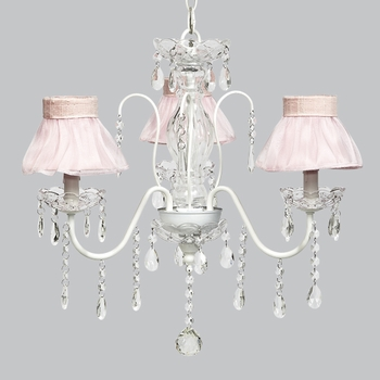 jewel chandelier - pink sheer ruffled shades