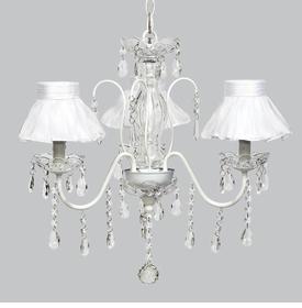 jewel chandelier - white ruffled sheer shades