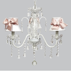 jewel chandelier - white shades/pink medium sashes