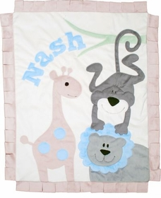 jungle safari baby blanket - grey lion with cream background