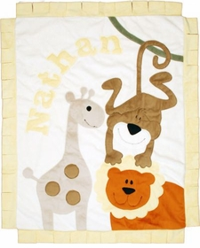jungle safari baby blanket - orange lion with cream background