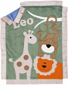 jungle safari baby blanket - orange lion with green background