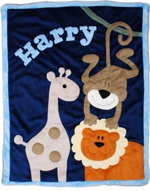 jungle safari baby blanket - orange lion with navy background