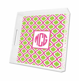 kate raspberry & lime lucite tray - square
