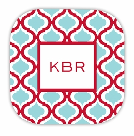 kate red & teal hardback rounded coaster<br>(set of 4)