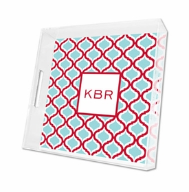 kate red & teal lucite tray - square