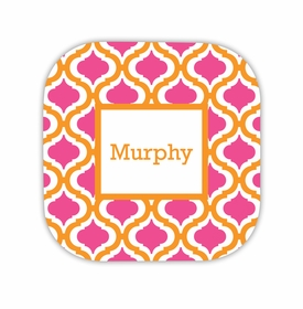 kate tangerine & raspberry hardback rounded coaster<br>(set of 4)