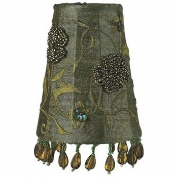khaki beaded embroidery sconce shades