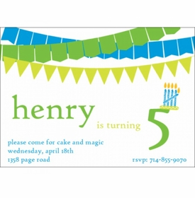 kid's parties invitations - banner year green