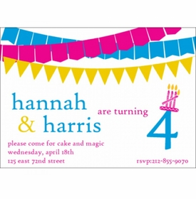 kid's parties invitations - banner year pink