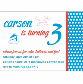 kid's parties invitations - cake and fun blue