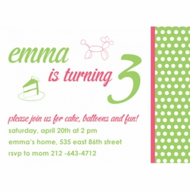 kid's parties invitations - cake and fun lime