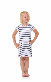 kids UPF 50 striped short sleeve fit and flare dress