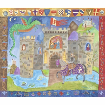 knight and castle wall art