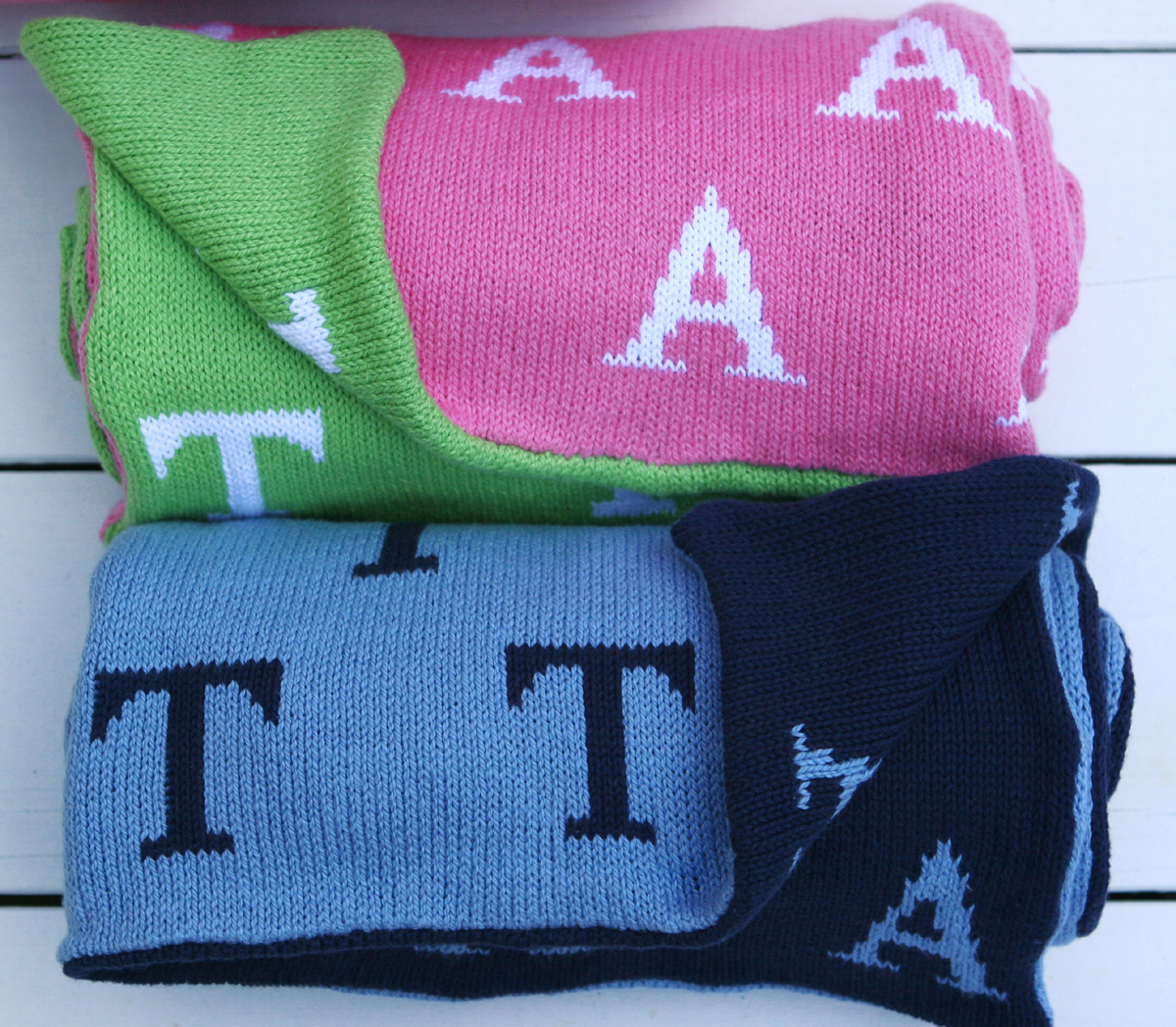Knit Baby Blanket Initials
