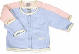 knit baby cardigan with contrast creme trim