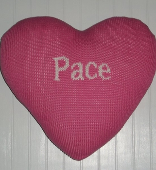 knit heart pillow with name