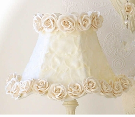 Lamp Shade with Cream petals & Roses