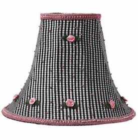 large black check rosebud lamp shade
