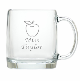 large glass mug - apple teacher name