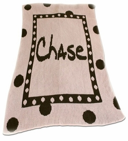 large polka dot and name stroller blanket